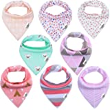 Storeofbaby Baby Bandana Drool Bibs Super Soft Absorbent Pack of 8 for Girls Gift Set