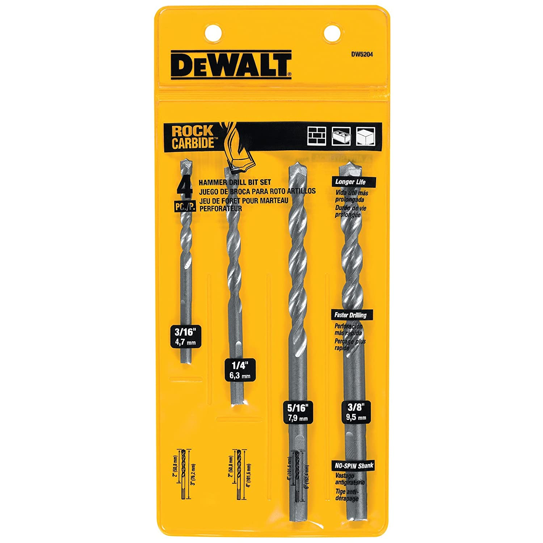 masonry drill bit. dewalt dw5204 4-piece premium percussion masonry drill bit set - extra long bits amazon.com