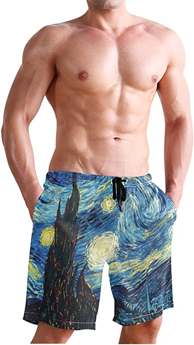 Leegor Men/'s Relaxed Fit Printed Palm Cargo Shorts Outdoor Surfing Pants Casual Boardshorts Drawstring Beach Trousers