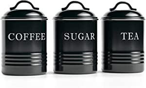 "Barnyard Designs Airtight Kitchen Canister Decorations with Lids, Black Metal Rustic Farmhouse Country Decor Containers for Sugar Coffee Tea Storage (Set of 3) (4"" x 6.75"")"