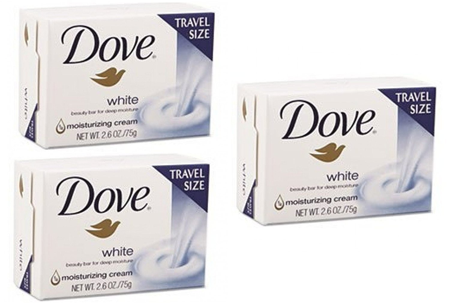 Dove White Bar Soap with Moisturizing Lotion Travel Size 2.6oz (Pack Of 3)
