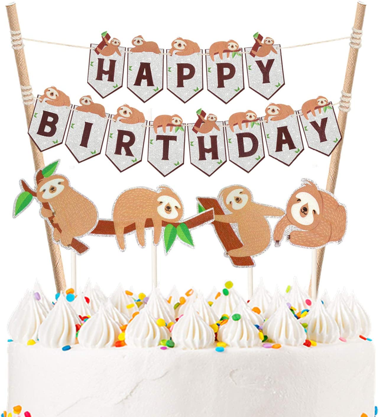 Amazon Com Liliparty Set Of Cute Sloth Happy Birthday Cake Bunting Toppers Cartoon Sloth Cake Banner Woodland Animals Theme Birthday Party Baby Shower Decorations Supplies Pre String Together Home Kitchen