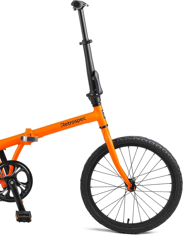 Matte Orange Retrospec Judd Single-Speed Folding Bike with Coaster Brake