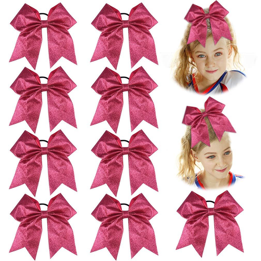 DEEKA 9PCS 7'' Large Glitter Cheer Hair Bows Ponytail Holder Handmade for Teen Girls Softball Cheerleader Sports - Pink by DEEKA