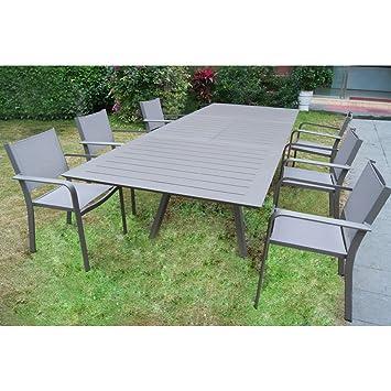 Set Tisch Rechteckig Ausziehbar 200/300 X 110 Mit 6 Sessel Aluminium Taupe  Für Außen
