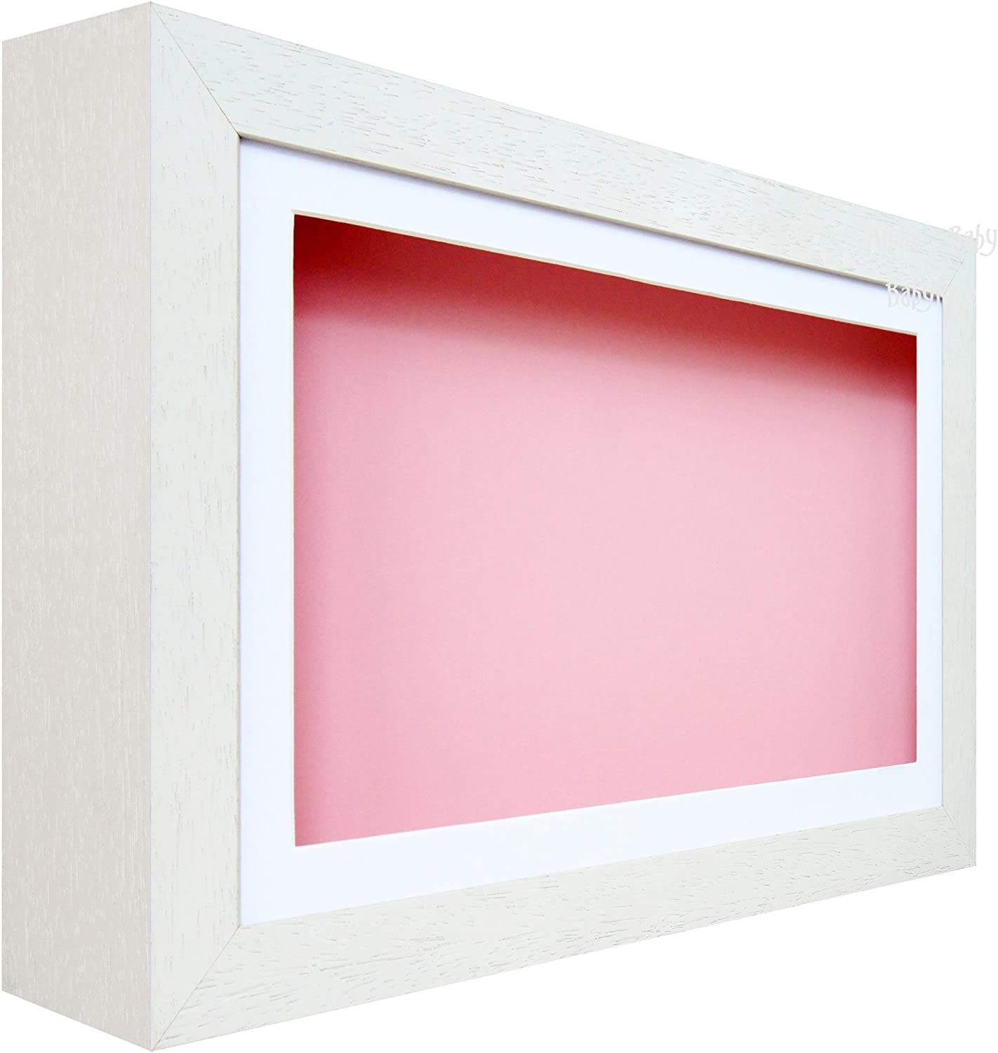 New White Deep Box Display Frame 2D 3D Pictures Art Objects Crafts Pink Mount