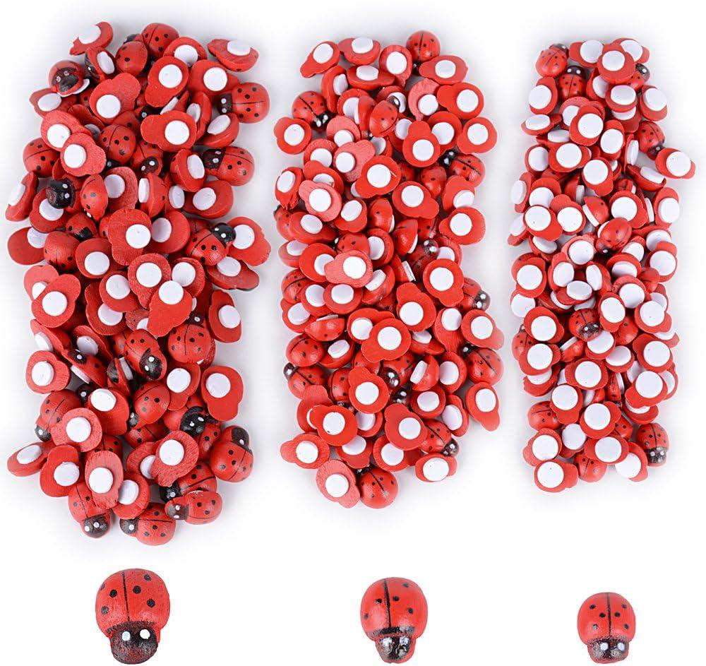300pcs Mariquitas Decorativas Adhesivos Mini Escarabajos Madera Decoraci/ón Regalos Plantas Jard/ín Manualidades Scrapbooking