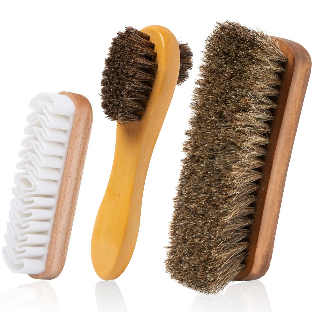 TAKAVU Horsehair Shoe Shine Brush Set - 3 Different Shapes & Sizes - Premium Horsehair Shoe Shine Brush, Polish Applicator, Crepe Suede Shoes Brush for Shoes, Leather, Boot, Cloth, Bag