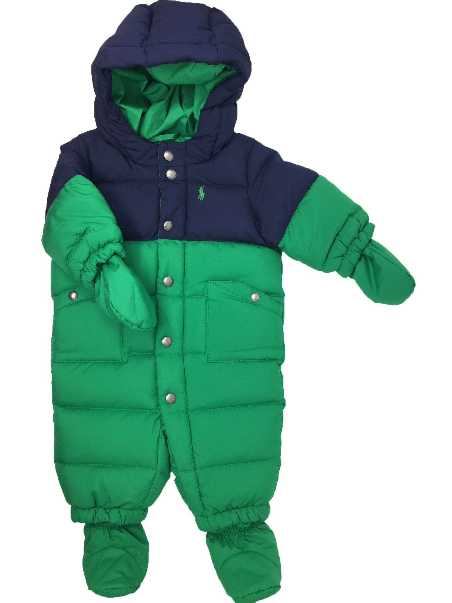 Ralph Lauren Baby Boys Feather Down Snowsuit French Navy Blue Green 3 Months