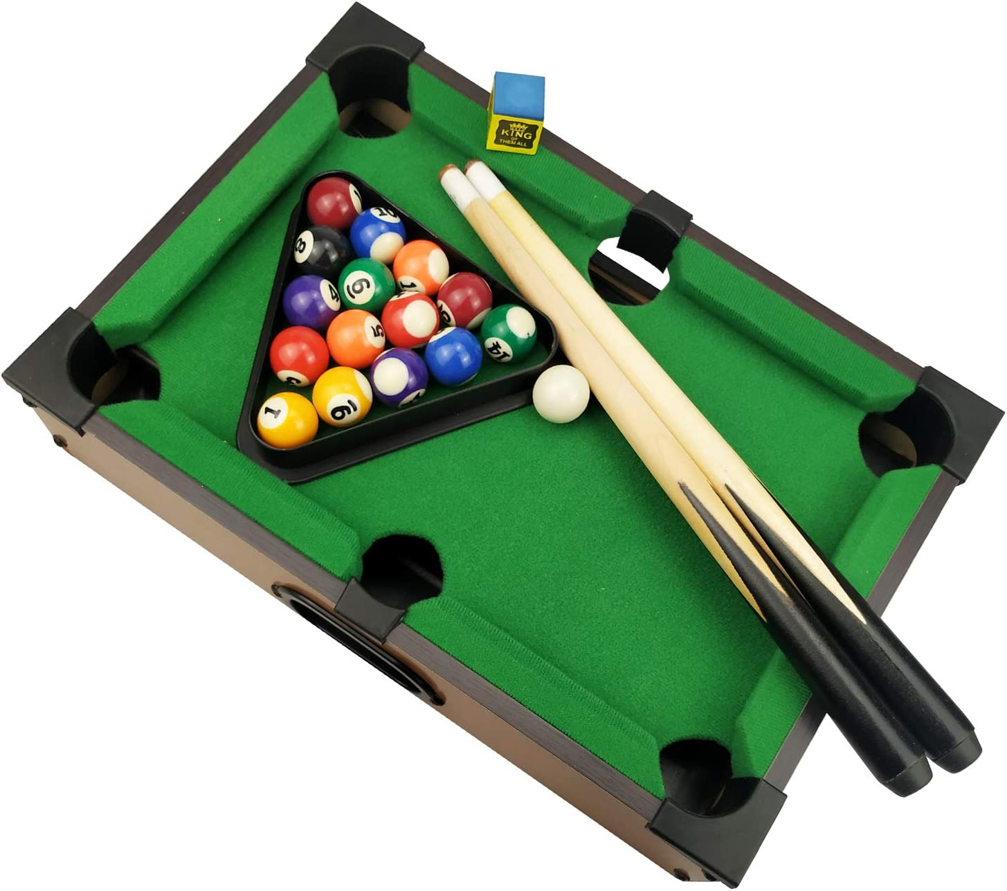 Benfu Mini Table Billiards Game, Home and Office Desktop Billiards Game, Including Pool Table 15 Colorful Balls, 1 Cue Ball, 2 Billiard Sticks, 1 Chalk Triangle Cube