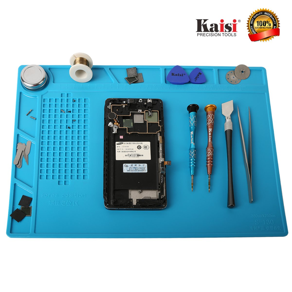 Heat Resistant Soldering Silicone Mat Repair Insulation Pad Screw Tray Maintenance Platform Work Mat Phone Repair tools for Soldering Iron Station, Phone Repair Computer Repair Watch Repair by Kaisiking (Image #2)
