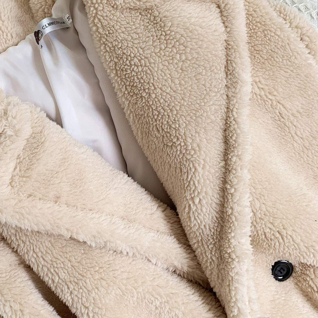 Women Coat Fashion Autumn and Winter Loose Medium Long Windbreaker Artificial Lamb Casual Warm Outwear Beige