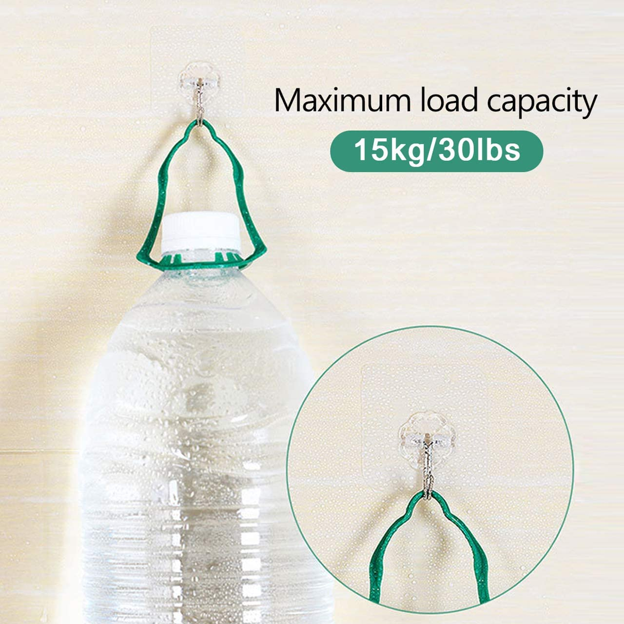 30 lb Imperm/éable Lourd Devoir Crochets pour Cuisine//Chambre//Salle de Bain Max KwuLee 50 Pi/èces Crochets Adh/ésifs Transparents Charge Portant 15 kg