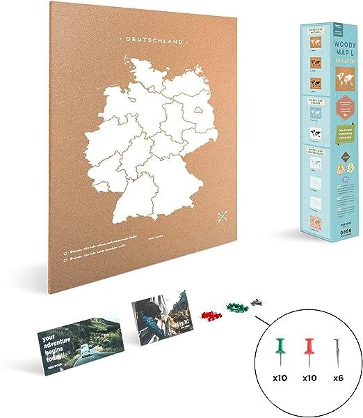 Miss Wood Mapa de Alemania Estampado con Serigrafía sobre Corcho ...