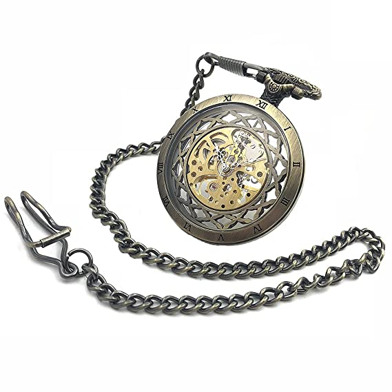 CAIFU Brand New Arrival Open Face Brone Tone Case Skeleton Steampunk Hand Wind Mens Pocket Watch