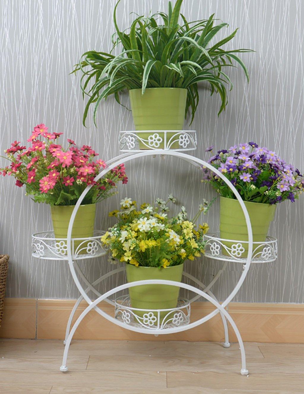 Blumenregal 4-lagiges Blumentopfgestell aus Eisen Europaweit im Innen - und Außenbereich ( farbe : Weiß , größe : 72cm*27cm*67cm )