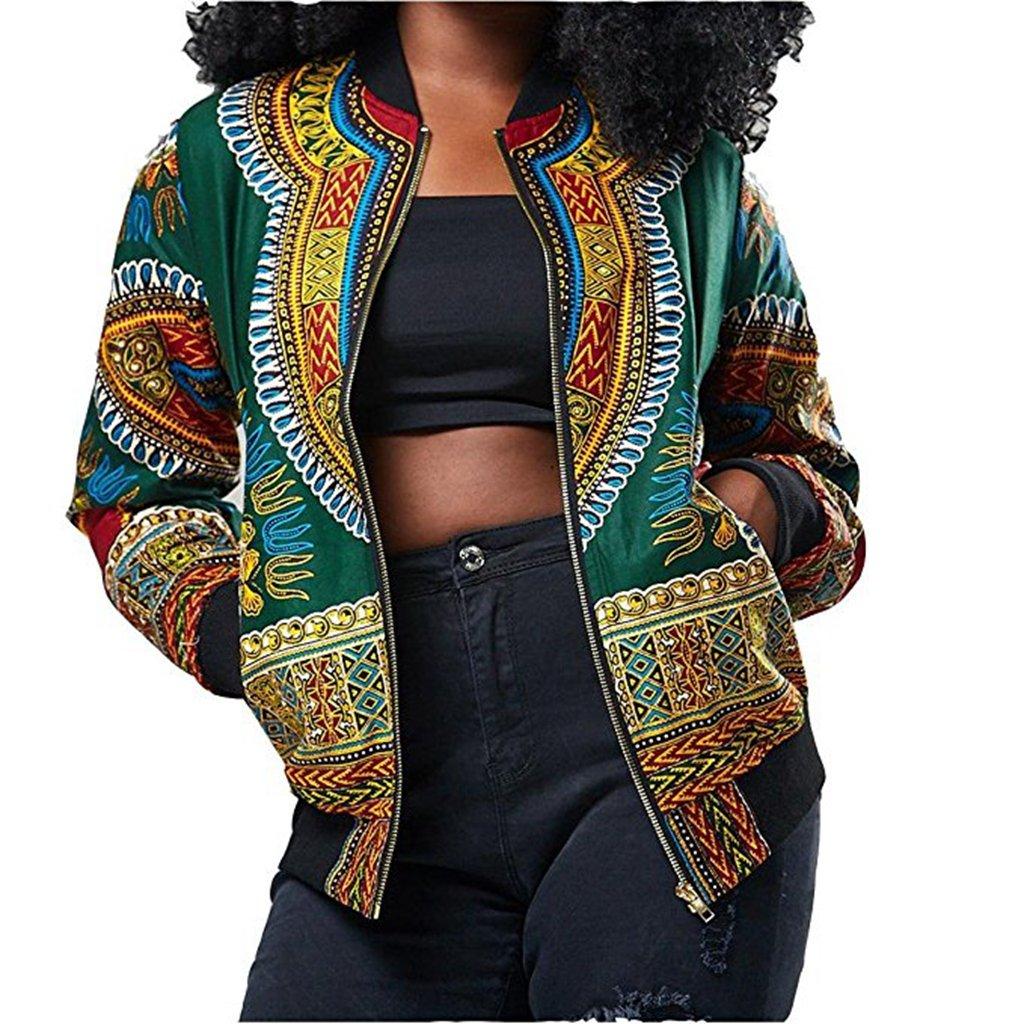 Women's Dashiki Bomber Jacket African Style Zipper Jacket