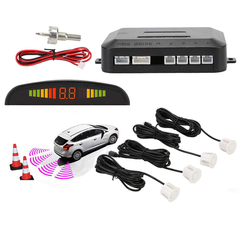 Sensori Parcheggio, OSAN, Kit Auto LED Display + Suono Allarme Radar Retromarcia Antigelo Impermeabile + 4 Sensori Bianco CP0UK-X
