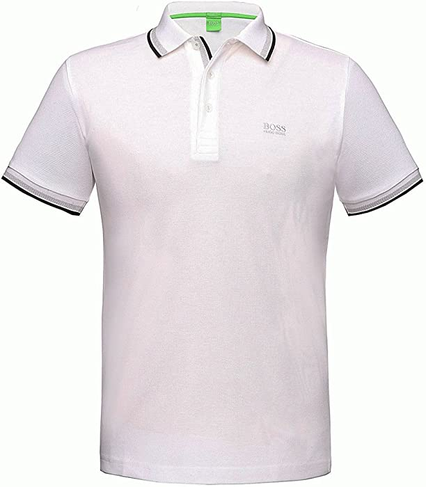 973b990c9 BOSS Hugo Green Polo Shirt, White Tipped 'Paddy' Polo: Amazon.co.uk ...
