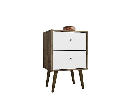 buy online 9fdc8 8de29 Manhattan Comfort 204AMC96 Liberty Modern 2 Drawer Bedroom Nightstand/End  Table Rustic Brown/White