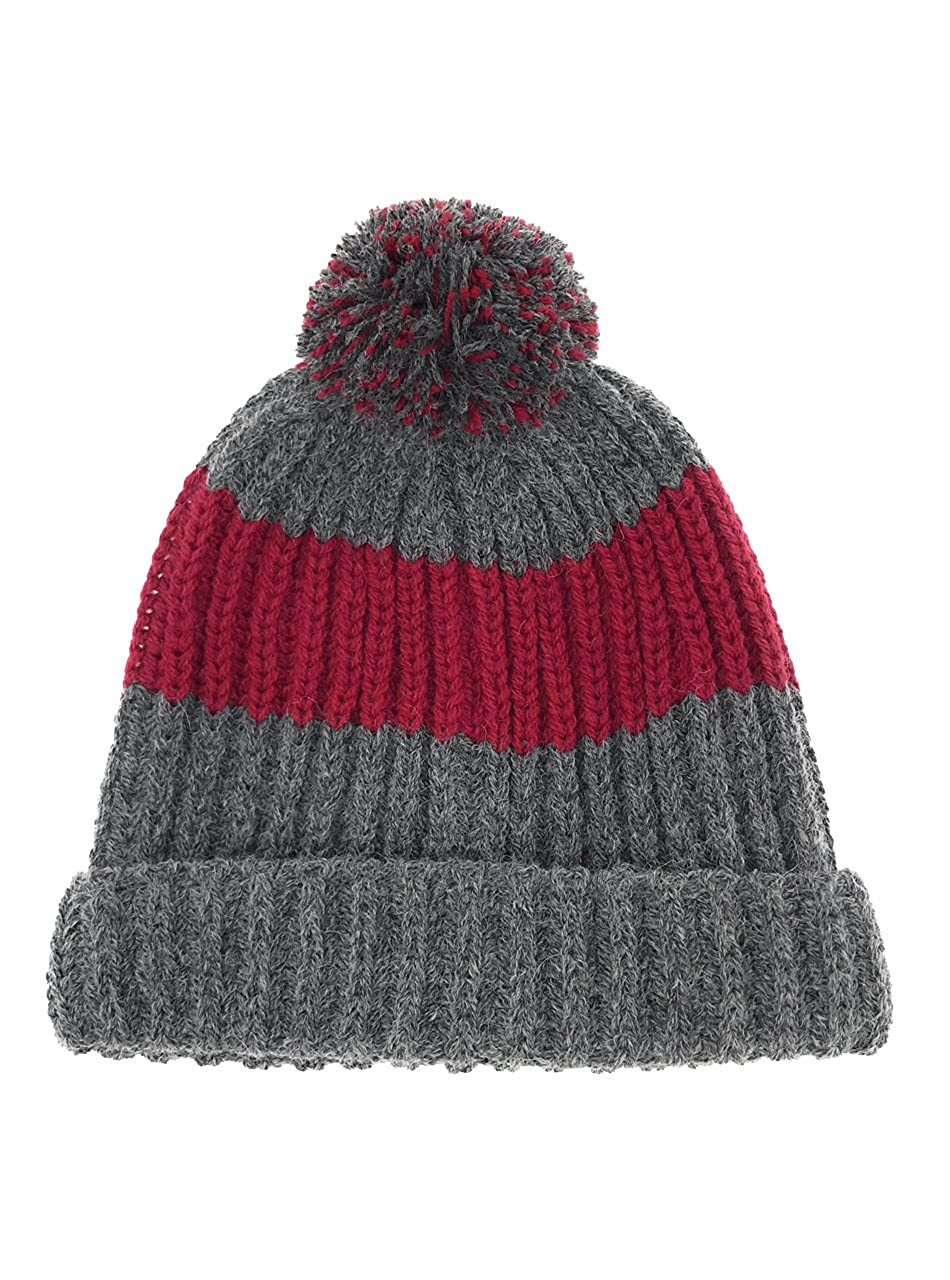 e9029cf82df50d Alpaca Wool & Acrylic Blend Vintage Style Beanie/Tossle Cap - Knit Beanie  Hat with Pom Pom - Unisex (Cranberry & Coal) at Amazon Women's Clothing  store: