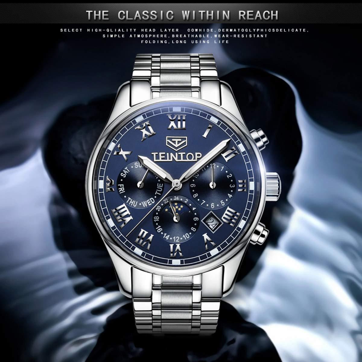 TEINTOP automatisk mekanisk klocka män märke herrklockor månfas safir blå klocka vattentäta klockor Colorb