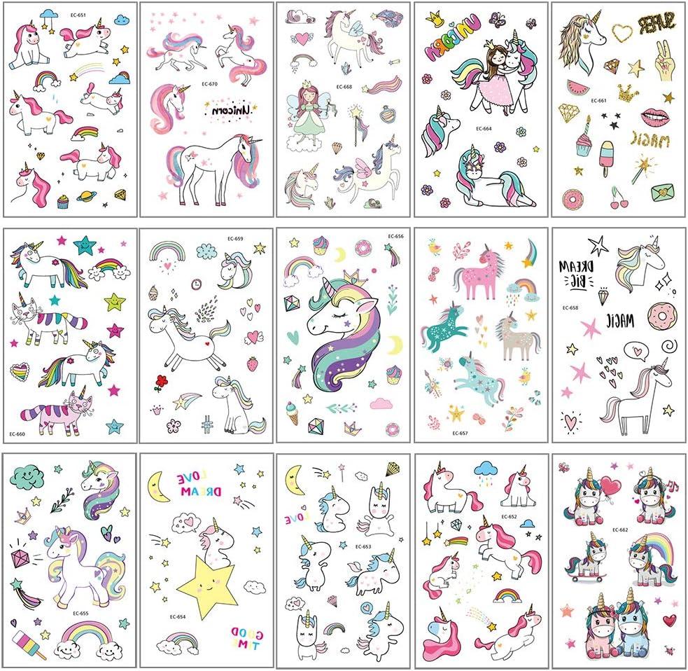 15 St/ück tempor/äre Tattoos Kinder Aufkleber Sticker f/ür M/ädchen Kindergeburtstag Mitgebsel Einhorn Party /Über 300 Tattoos Vibury Einhorn tempor/äre Tattoo