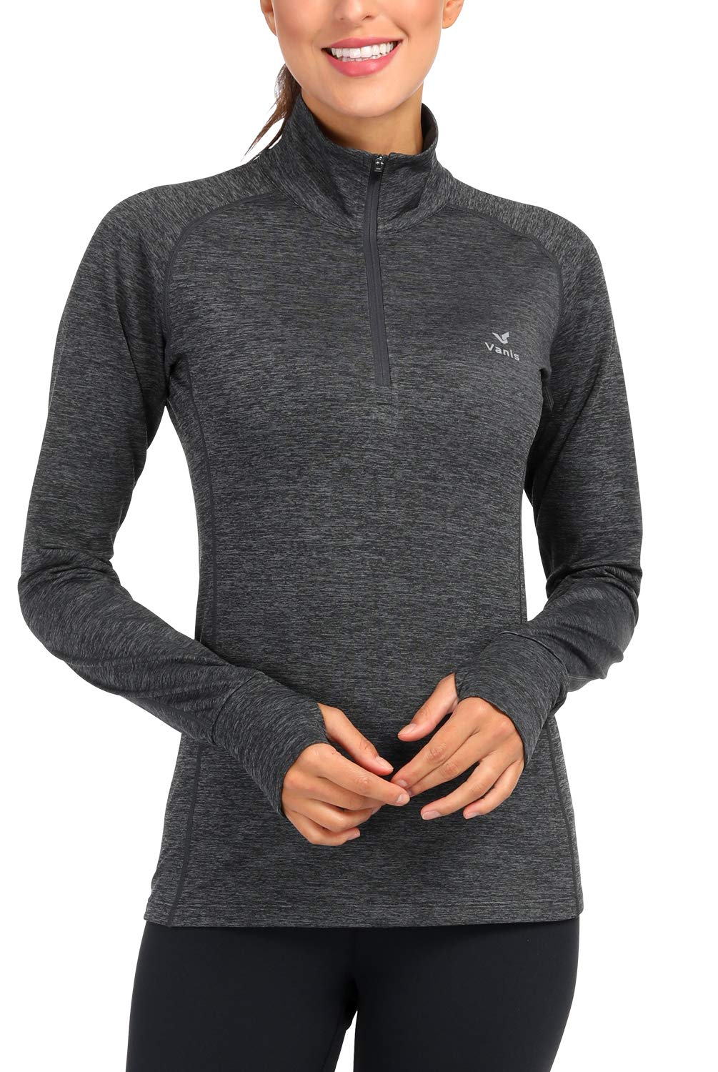 Women's Yoga Jacket 1/2 Zip Pullover Thermal Fleece Athletic Long Sleeve Running Top with Thumb Holes (Carbon Heather, X-Large) by Vanis