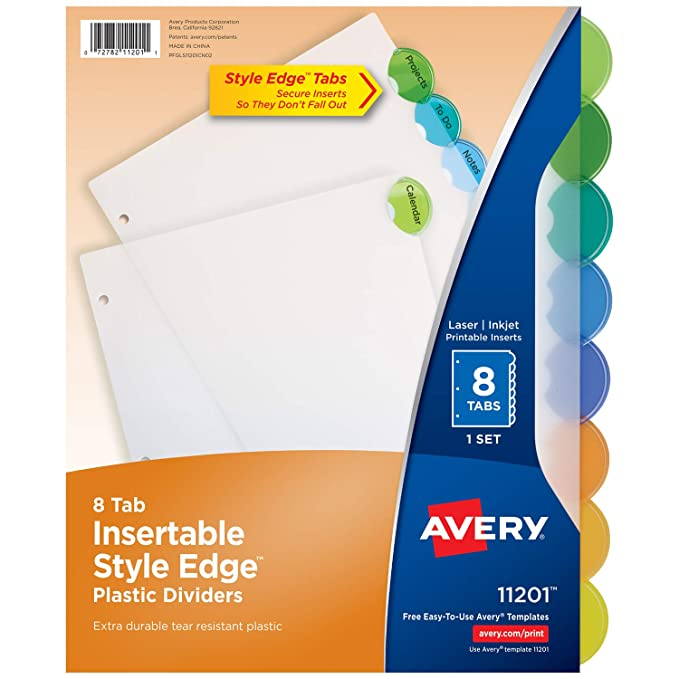 Amazon avery 8 tab plastic binder dividers insertable amazon avery 8 tab plastic binder dividers insertable multicolor style edge tabs 1 set 11201 binder index dividers office products maxwellsz