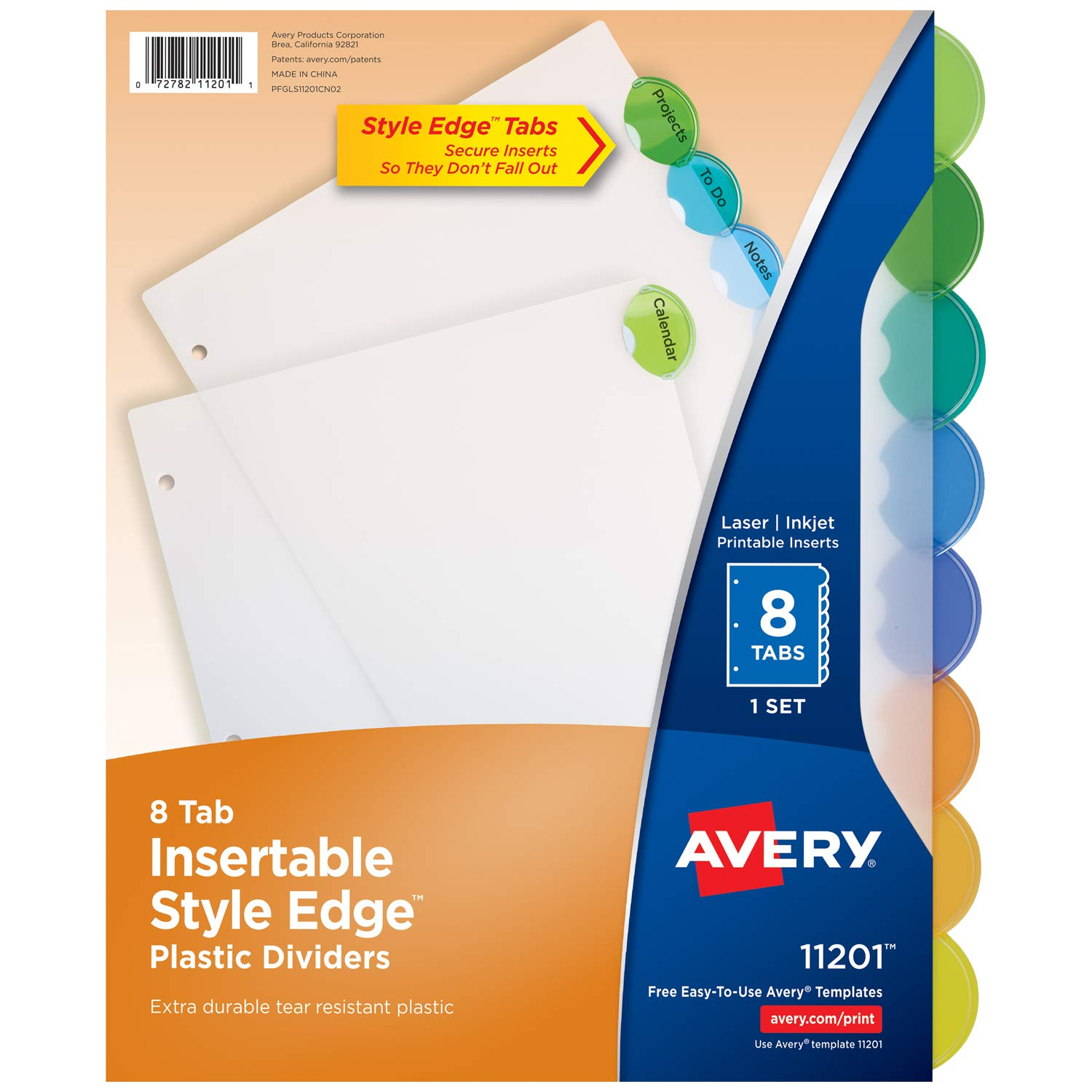 avery 8 tab plastic binder dividers insertable multicolor style edge tabs 1 set 11201