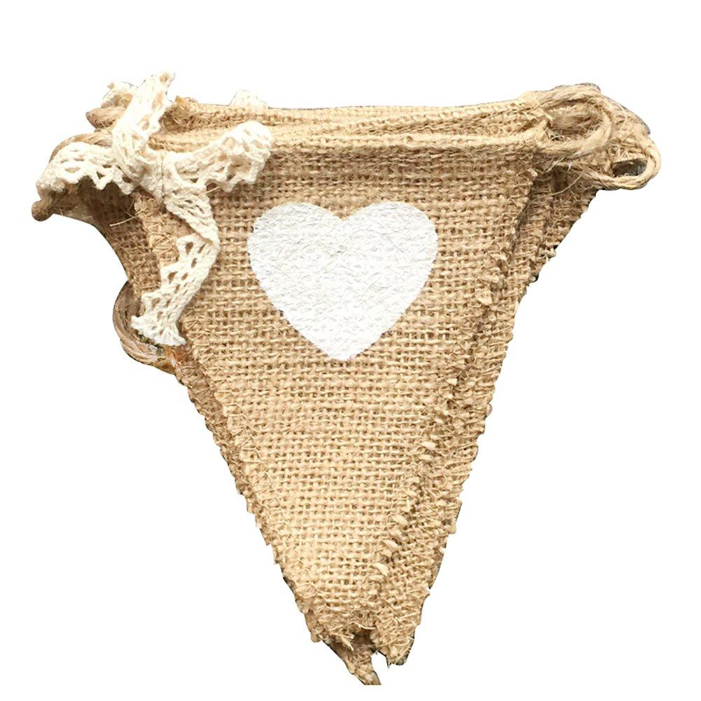 Daorier Amour Fanion Bannière Banderole en Jute Vintage Décoration pour Cérémonie Mariage Guirlande Size 11 * 13CM+1.6M (Amour)