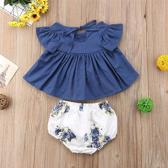 Wang-RX Vestido de niña bebé recién Nacido Floral Top + ...