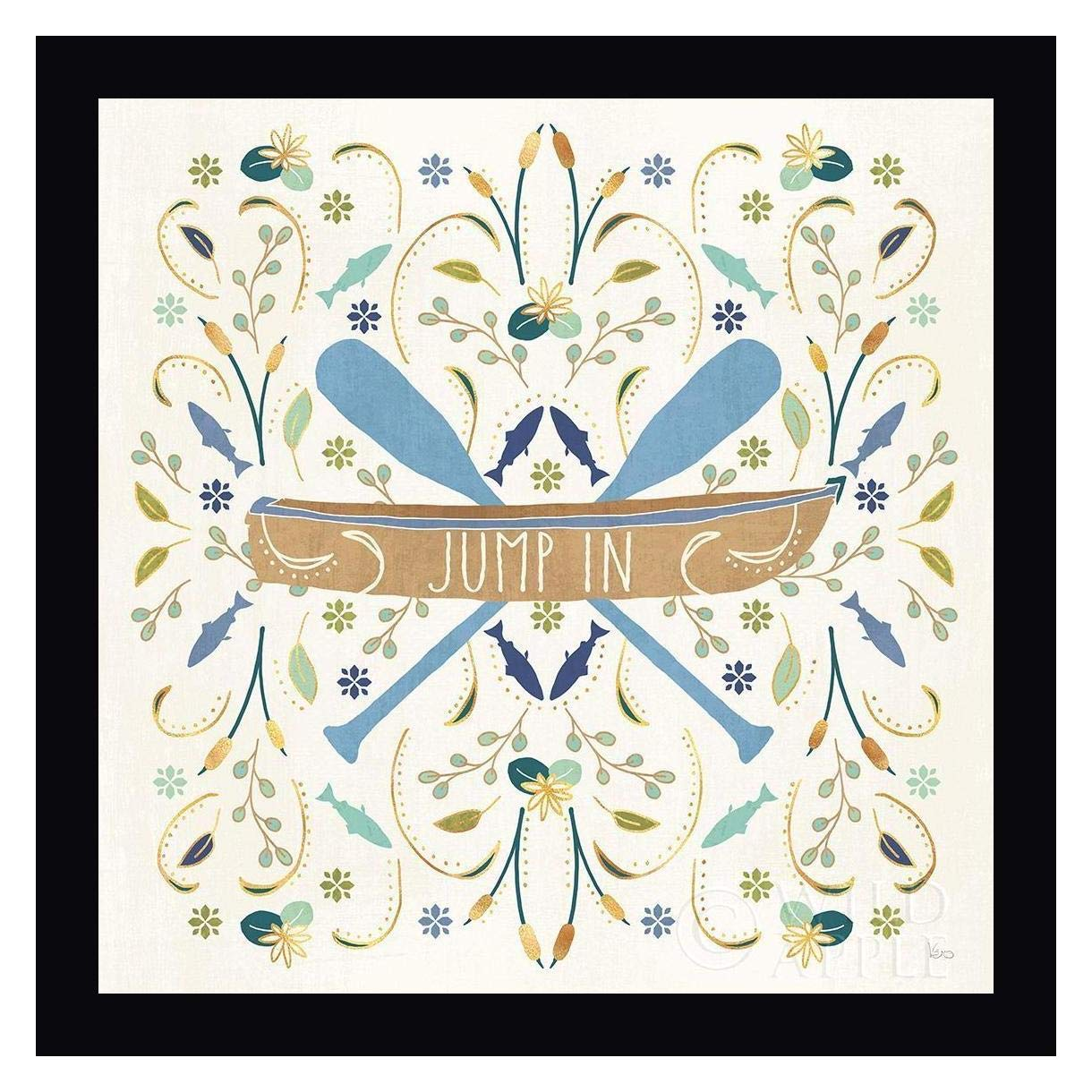Otomi Lake III Rowboat by Veronique Charron 28'' x 28'' Black Framed Canvas Giclee Art Print - Ready to Hang by Canvas Art USA