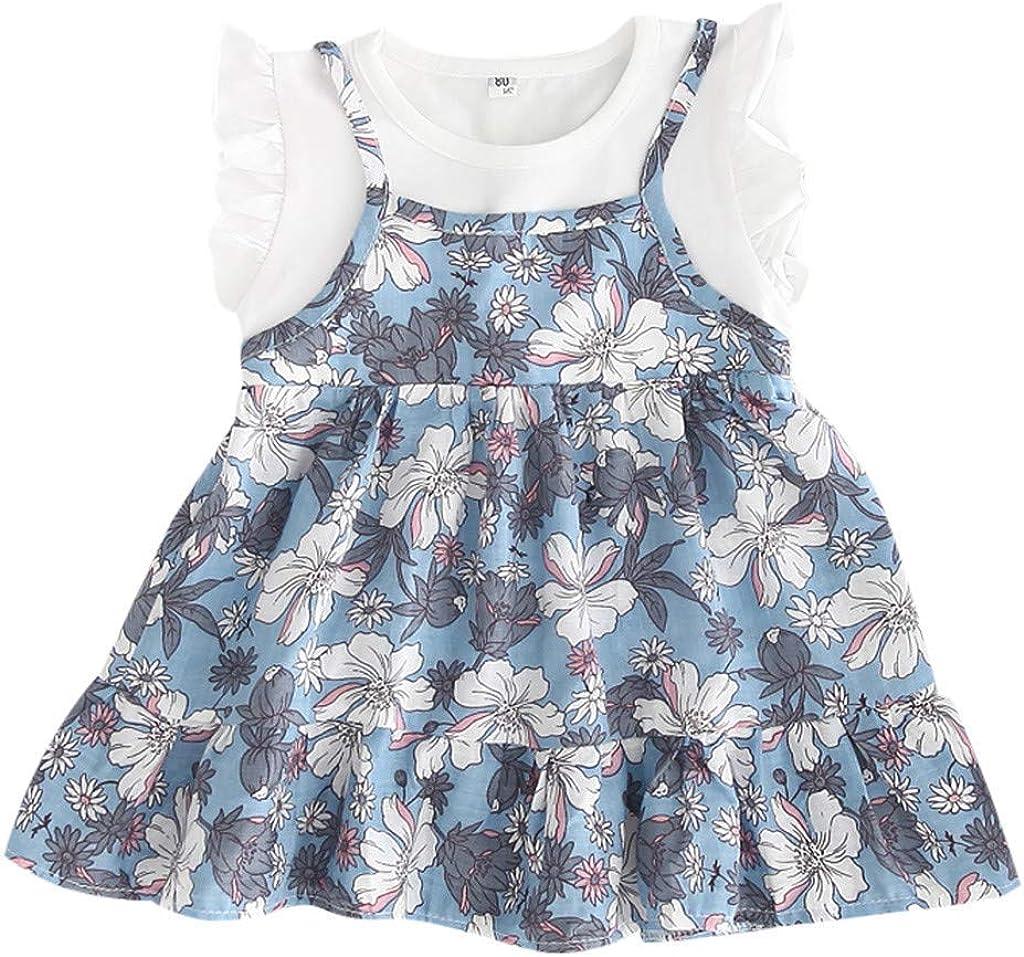 Sommer Urlaub gekr/äuselten Partykleid Strandkleid Prinzessin Kleinkind Kleidung Gef/älschte 2 St/ücke KIMODO Baby M/ädchen Kleid mit Blumenmuster