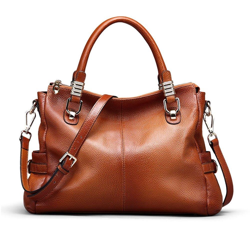 Kattee Women's Genuine Leather Tote Satchel Shoulder Handbag XB135BK