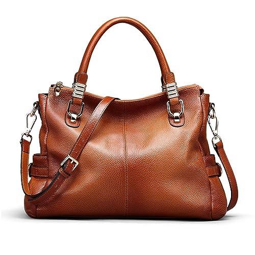 Kattee Women's Genuine Leather Tote Satchel Shoulder Handbag by Amazon