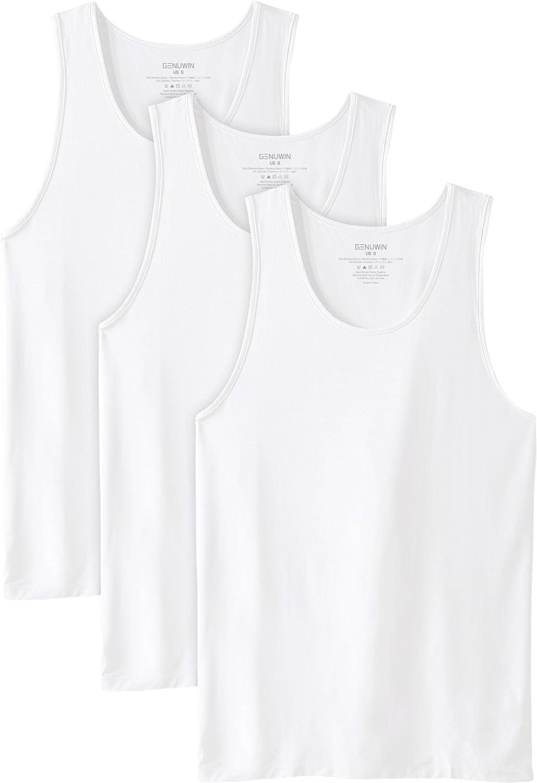Genuwin Camisetas de Tirantes para Hombre de Cuello Redondo, Camiseta Básica de Fibra de Bambú Rayón con Tratamiento Antiolor, Pack de 3