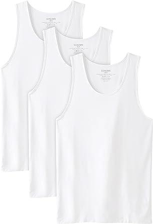 Genuwin Camisetas de Tirantes para Hombre de Cuello Redondo, Camiseta Básica de Fibra de Bambú Rayón con Tratamiento Antiolor, Pack de 3: Amazon.es: Ropa y accesorios