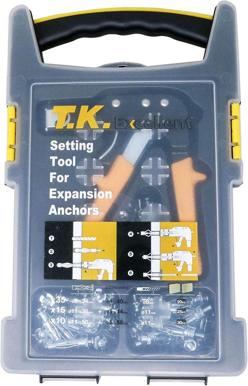 T.K. Excellent Herramienta de fijación de anclaje de pared hueco para pistola de alta resistencia + 3 anclajes de pared de metal diferentes (M8 x 34 mm, M11 x 36 mm, M11 x 50 mm)