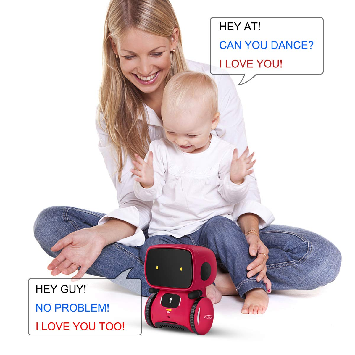 Kids Robot Toy, Smart Talking Robots, Gift for Boys and Girls Age 3+, Intelligent partner and teacher, with Voice Controlled and Touch Sensor, Singing, Dancing, Repeating by 98K (Image #4)