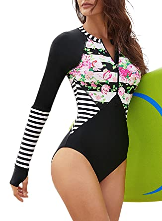 d62e6d8d303 ZESICA Women's Long Sleeve Floral Printed Zip Front Rashguard One Piece  Swimsuit Sun Protection Surfing Swimwear Bathing Suit at Amazon Women's  Clothing ...