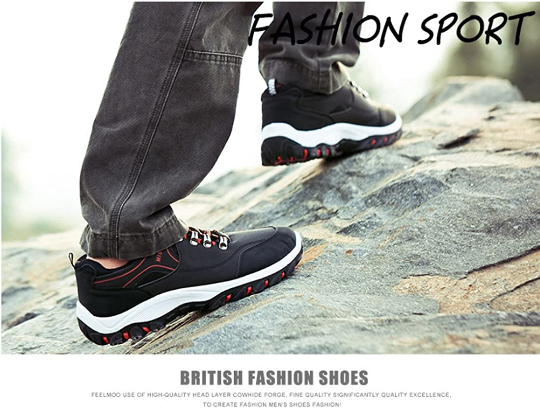 Niceful Hiking Boots Men Trekking Low Top Shoes Outdoor Walking Leather Sneakers
