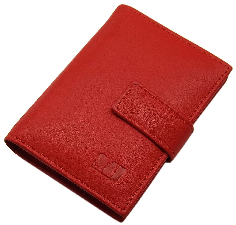 XL Cuero de becerro Caja de la tarjeta para un total de 14 tarjetas de credito MJ-Design-Germany en diferentes colores Marr/ón