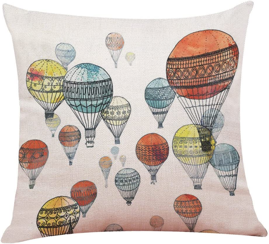 Amazon Com Emerayo Cartoon Hot Air Balloon Throw Pillow Covers Home Decorative Throw Pillow Cases Couch Covers Decoration 18 X 18 Inch For Home Sofa Bedding F 18 X 18 Inch Home Kitchen