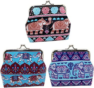 Womens Leather Kiss Lock Double-Sided Flamingo In The Flowers Coin Purse Wallets