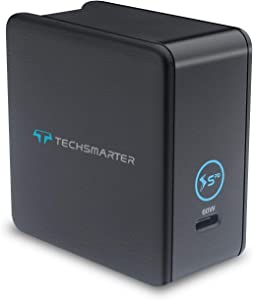 Techsmarter 60W USB-C PD Fast Compact Travel Wall Charger. Compatible with iPhone 11, XS, X, XR, Samsung S9, S10, S20, Note 10, MacBook Pro/Air, iPad Air/Pro, Pixel, Chromebook, and More