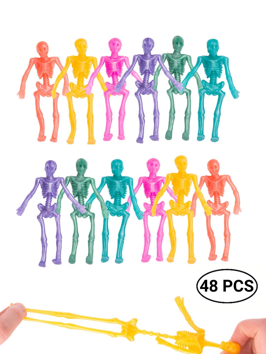 UpBrands 48 Pack Stretchy Skeleton 4 inches Bulk Set 8 Glitter Colors, Kit for Birthday, Halloween Party Favors for Kids, Goodie Bags, Easter Egg Basket, Pinata Filler, Small Toys Classroom Prizes by UpBrands
