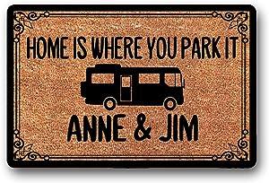 "LSS Trading Home is Where You Park It - Personalized Custom - Coir Door Mat - Class A Rv - Motorhome - Camper Doormat 23.6"" x 15.7"""
