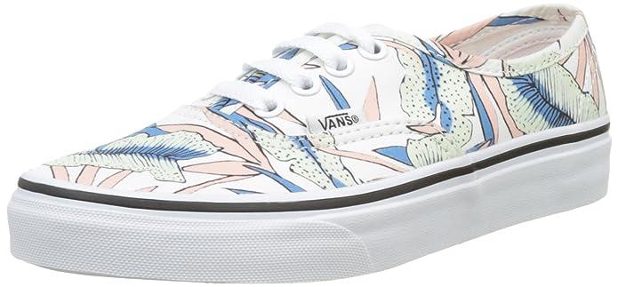 Vans Authentic Tropical Leaves True White Canvas Skateboarding Shoe - 9.5M/8M
