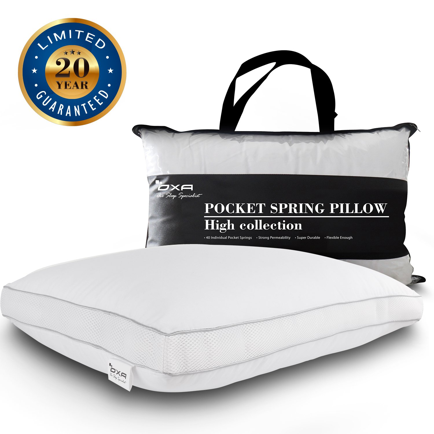 OXA Spring Bed Pillows – Newest, Breathable, Neck and Back Pain-Relieving Sleeping Pillow with 40 Separate Pocket Springs